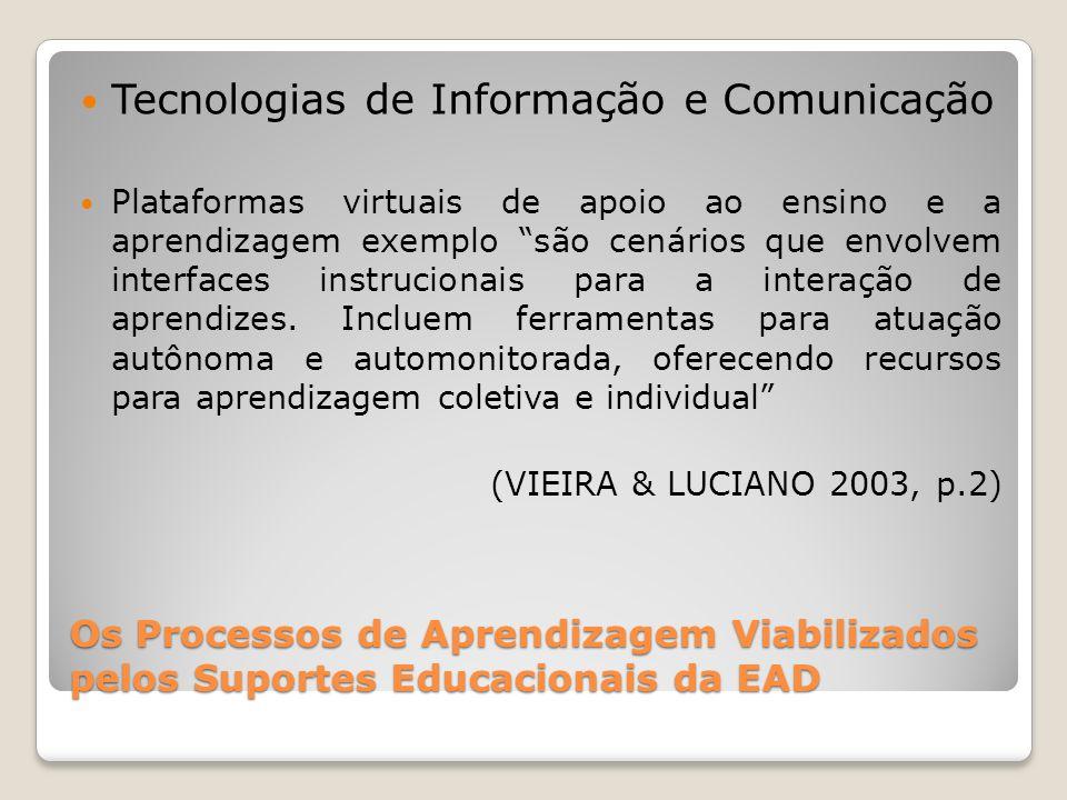 Os Processos de Aprendizagem Viabilizados pelos Suportes Educacionais da EAD Tecnologias de Informação e Comunicação Plataformas virtuais de apoio ao