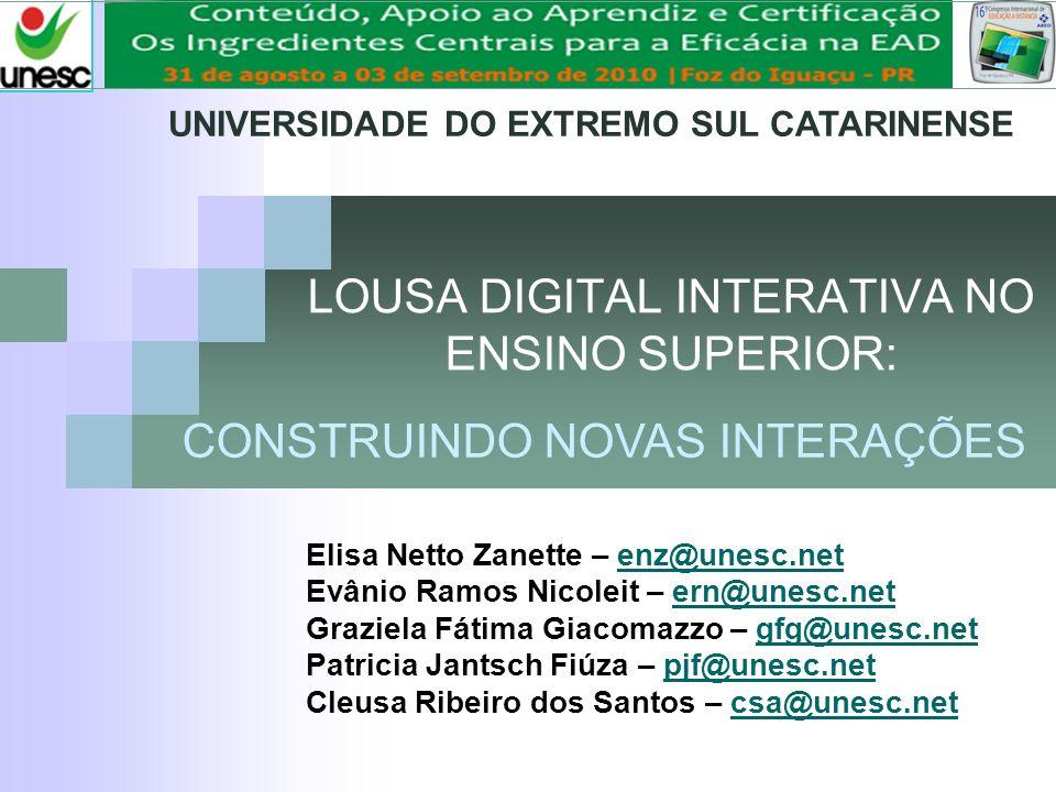 16° CIAED Congresso Internacional ABED de Educação a Distância LOUSA DIGITAL INTERATIVA NO ENSINO SUPERIOR: Elisa Netto Zanette – enz@unesc.netenz@une