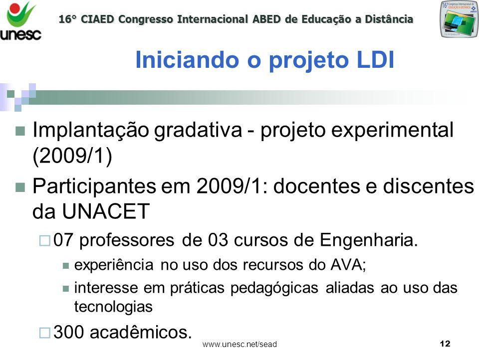 16° CIAED Congresso Internacional ABED de Educação a Distância www.unesc.net/sead12 Implantação gradativa - projeto experimental (2009/1) Participante