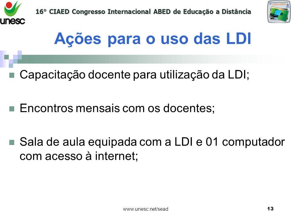 16° CIAED Congresso Internacional ABED de Educação a Distância www.unesc.net/sead13 Capacitação docente para utilização da LDI; Encontros mensais com
