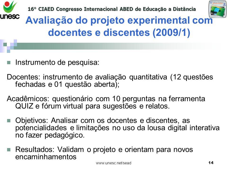 16° CIAED Congresso Internacional ABED de Educação a Distância www.unesc.net/sead14 Instrumento de pesquisa: Docentes: instrumento de avaliação quanti