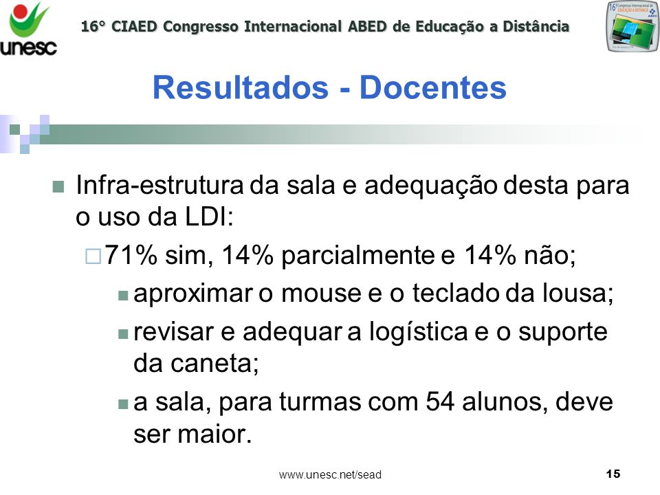 16° CIAED Congresso Internacional ABED de Educação a Distância www.unesc.net/sead15 Resultados - Docentes Infra-estrutura da sala e adequação desta pa