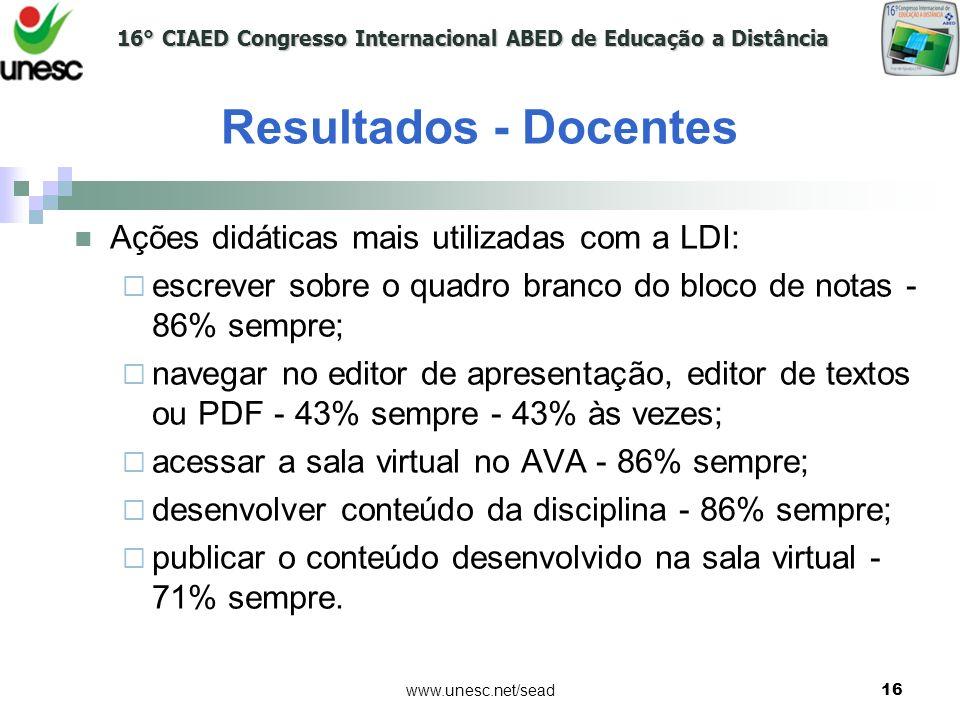 16° CIAED Congresso Internacional ABED de Educação a Distância www.unesc.net/sead16 Resultados - Docentes Ações didáticas mais utilizadas com a LDI: e