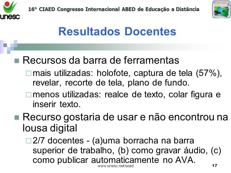 16° CIAED Congresso Internacional ABED de Educação a Distância www.unesc.net/sead17 Recursos da barra de ferramentas mais utilizadas: holofote, captur
