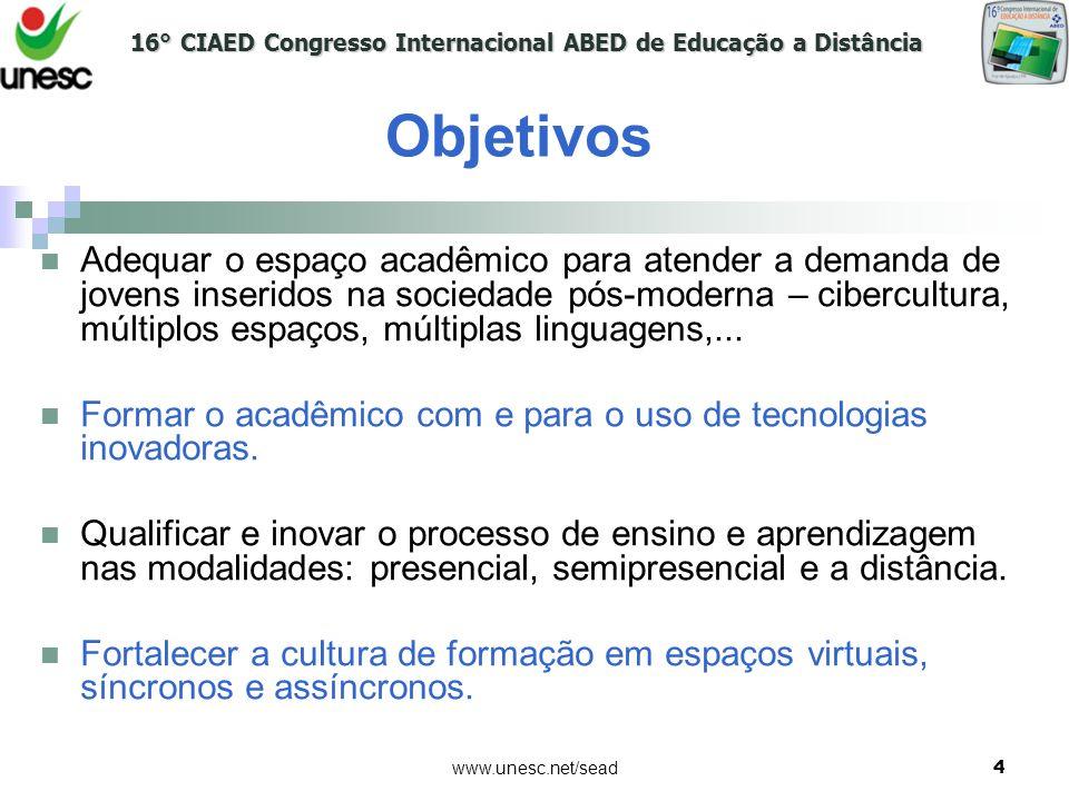 16° CIAED Congresso Internacional ABED de Educação a Distância www.unesc.net/sead4 Objetivos Adequar o espaço acadêmico para atender a demanda de jove