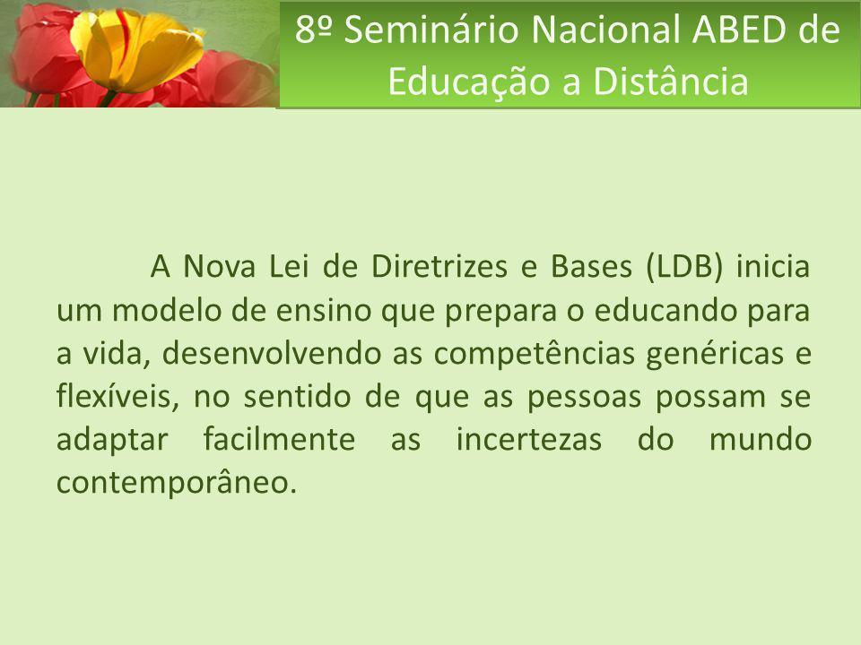 8º Seminário Nacional ABED de Educação a Distância A Nova Lei de Diretrizes e Bases (LDB) inicia um modelo de ensino que prepara o educando para a vid