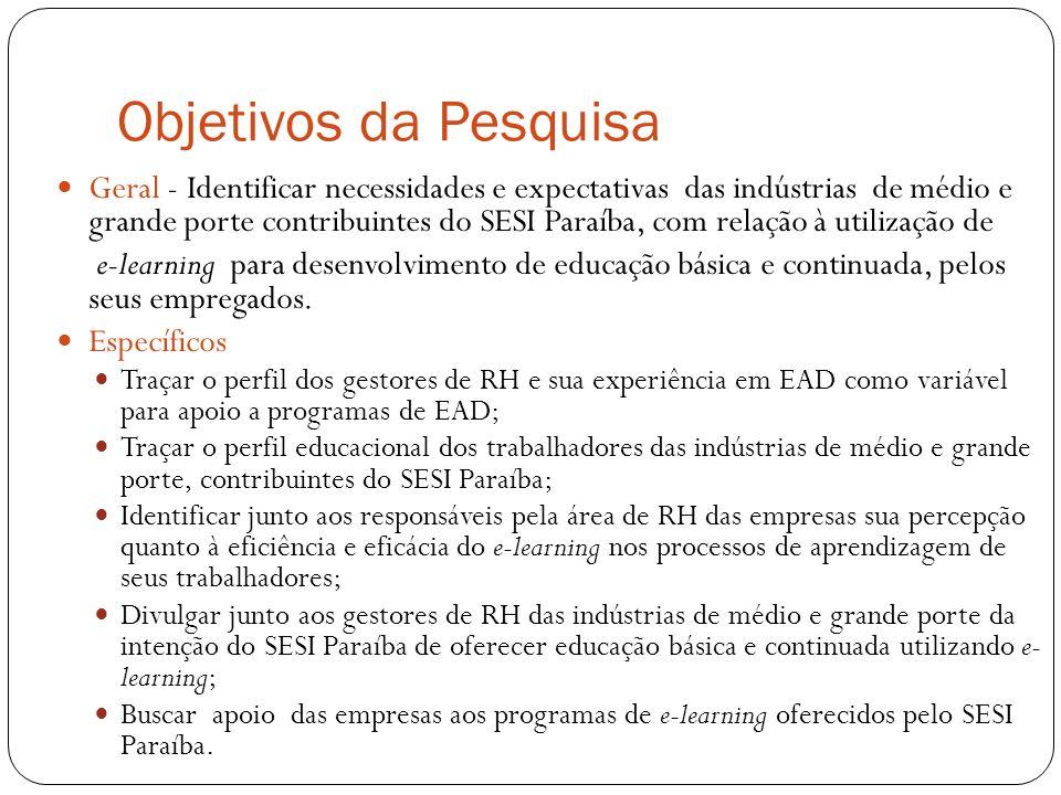 Objetivos da Pesquisa Geral - Identificar necessidades e expectativas das indústrias de médio e grande porte contribuintes do SESI Paraíba, com relação à utilização de e-learning para desenvolvimento de educação básica e continuada, pelos seus empregados.