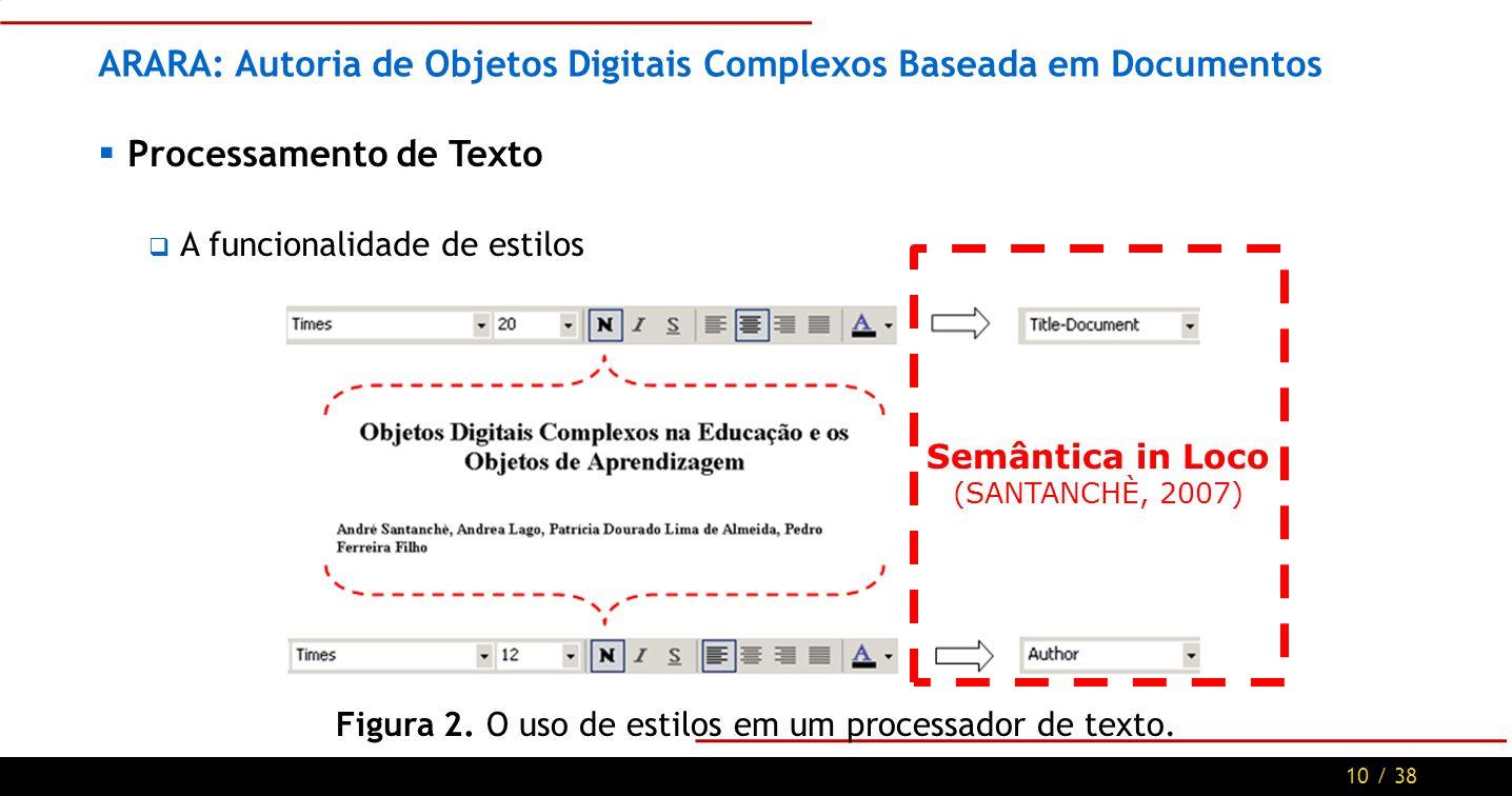 10 / 38 ARARA: Autoria de Objetos Digitais Complexos Baseada em Documentos Processamento de Texto A funcionalidade de estilos Figura 2.