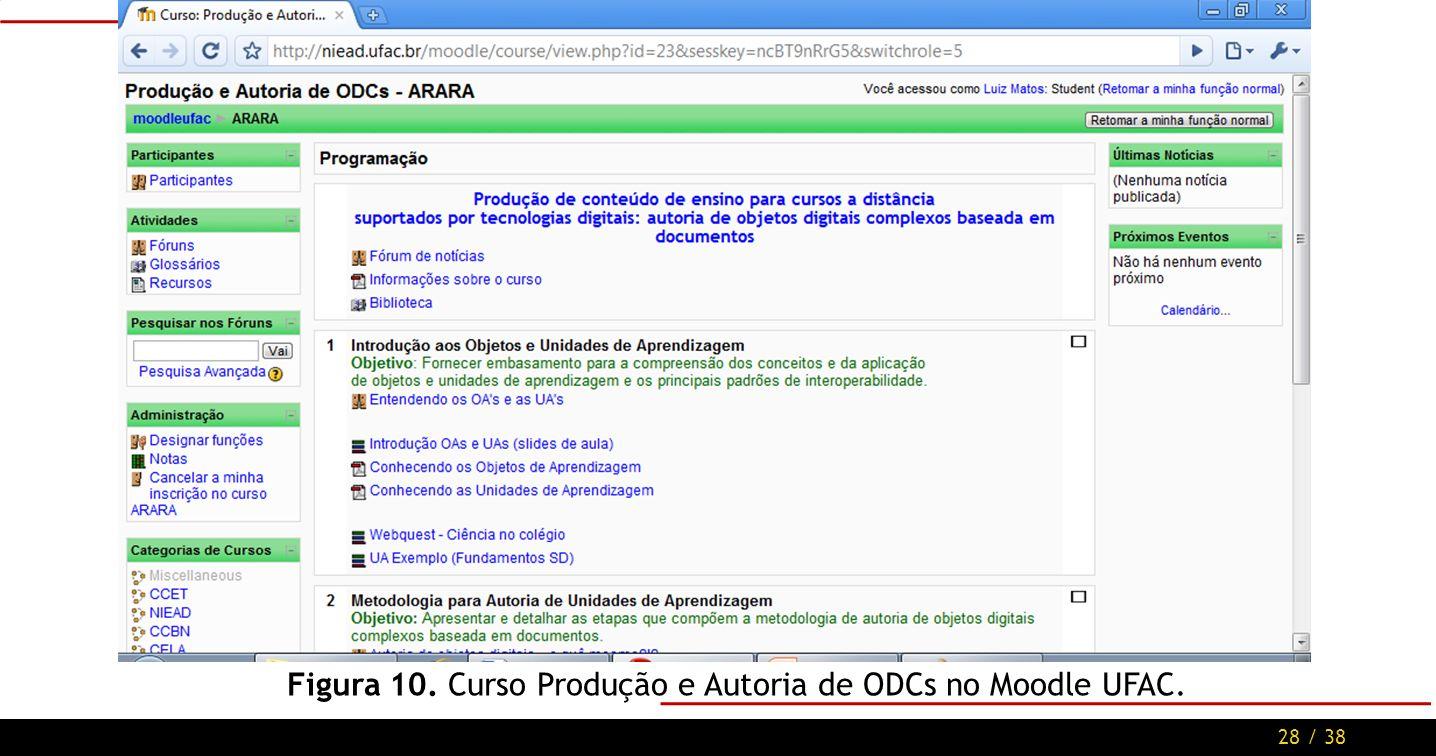 28 / 38 Figura 10. Curso Produção e Autoria de ODCs no Moodle UFAC.
