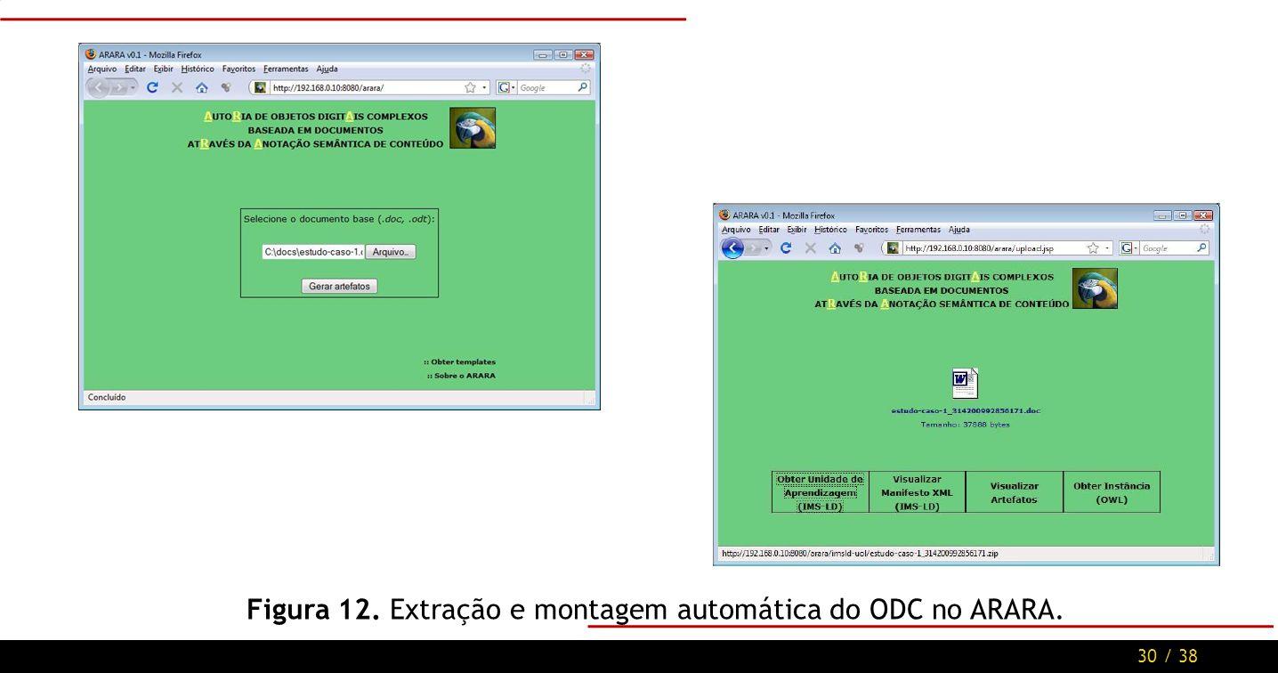 30 / 38 Figura 12. Extração e montagem automática do ODC no ARARA.