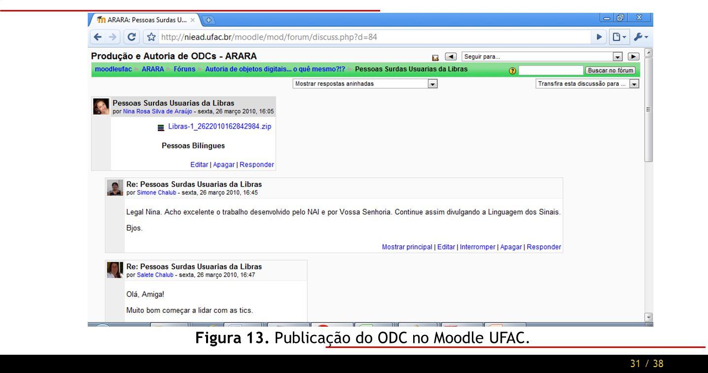 31 / 38 Figura 13. Publicação do ODC no Moodle UFAC.