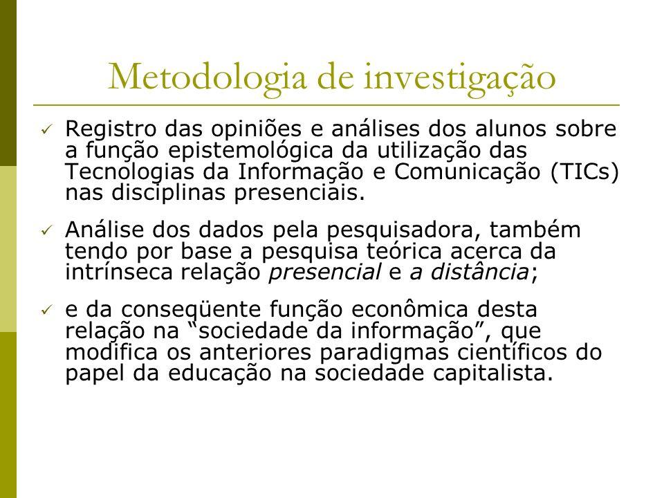 Metodologia de investigação Registro das opiniões e análises dos alunos sobre a função epistemológica da utilização das Tecnologias da Informação e Co