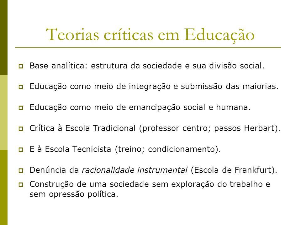 Teorias críticas em Educação Base analítica: estrutura da sociedade e sua divisão social. Educação como meio de integração e submissão das maiorias. E