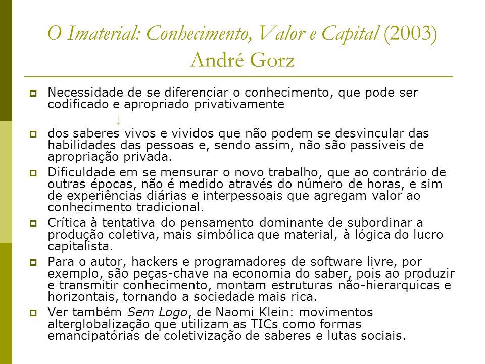 O Imaterial: Conhecimento, Valor e Capital (2003) André Gorz Necessidade de se diferenciar o conhecimento, que pode ser codificado e apropriado privat