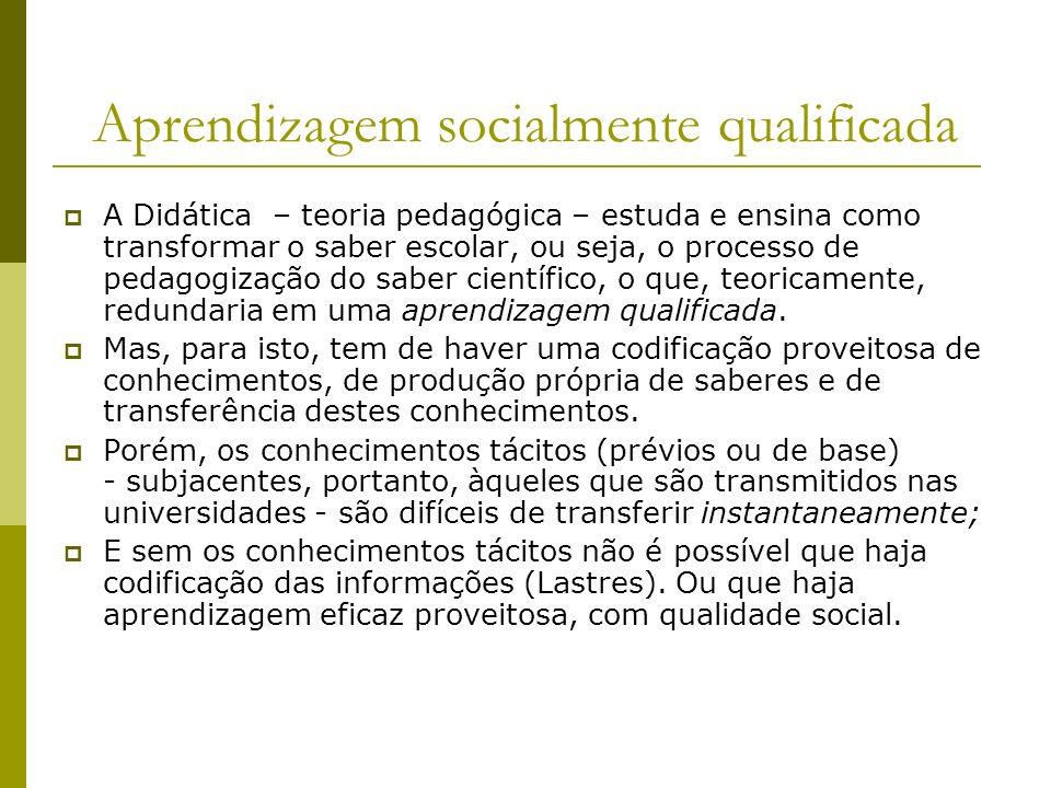 Aprendizagem socialmente qualificada A Didática – teoria pedagógica – estuda e ensina como transformar o saber escolar, ou seja, o processo de pedagog