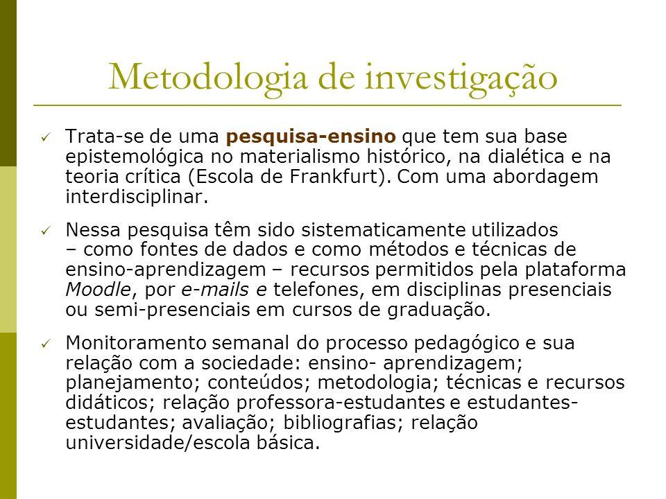 Metodologia de investigação Trata-se de uma pesquisa-ensino que tem sua base epistemológica no materialismo histórico, na dialética e na teoria crític