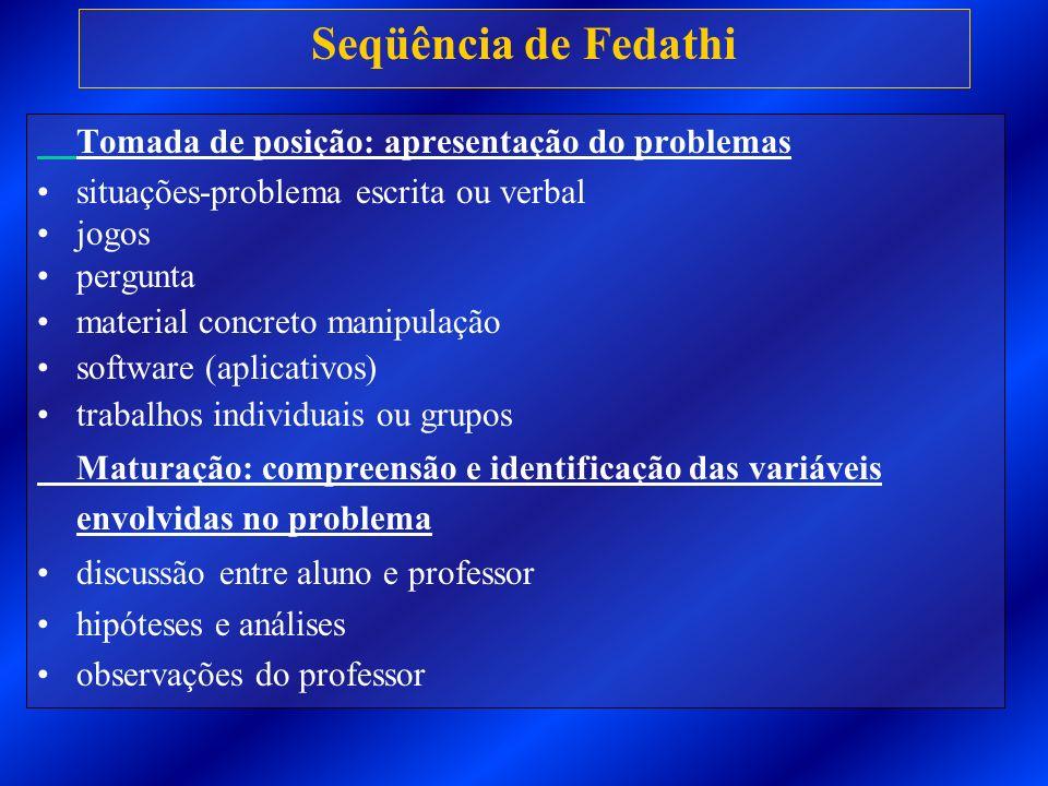 Seqüência de Fedathi Tomada de posição: apresentação do problemas situações-problema escrita ou verbal jogos pergunta material concreto manipulação so