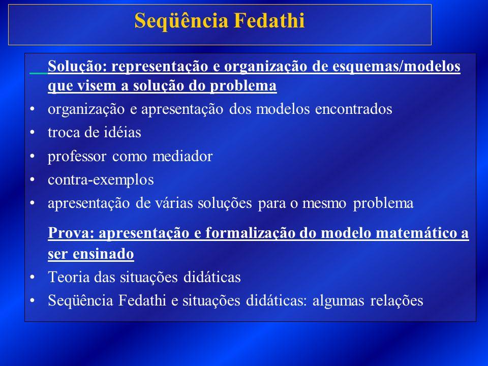 Seqüência Fedathi Solução: representação e organização de esquemas/modelos que visem a solução do problema organização e apresentação dos modelos enco