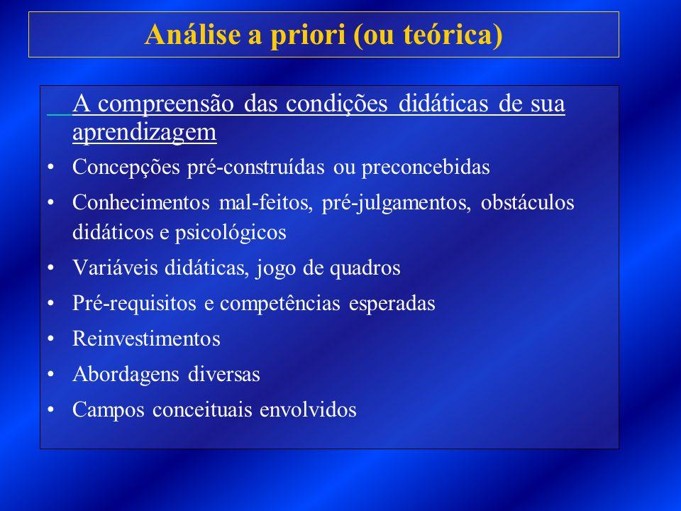 Análise a priori (ou teórica) A compreensão das condições didáticas de sua aprendizagem Concepções pré-construídas ou preconcebidas Conhecimentos mal-