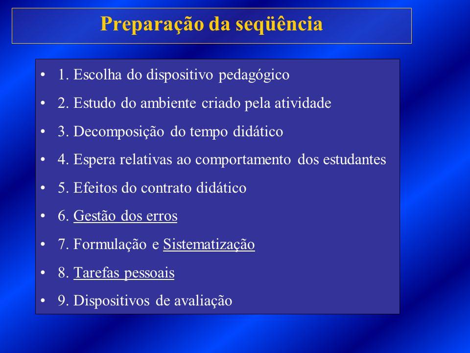 Preparação da seqüência 1. Escolha do dispositivo pedagógico 2. Estudo do ambiente criado pela atividade 3. Decomposição do tempo didático 4. Espera r