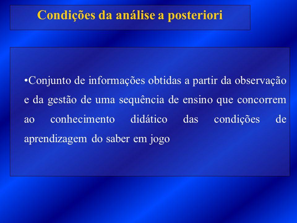 Condições da análise a posteriori Conjunto de informações obtidas a partir da observação e da gestão de uma sequência de ensino que concorrem ao conhe