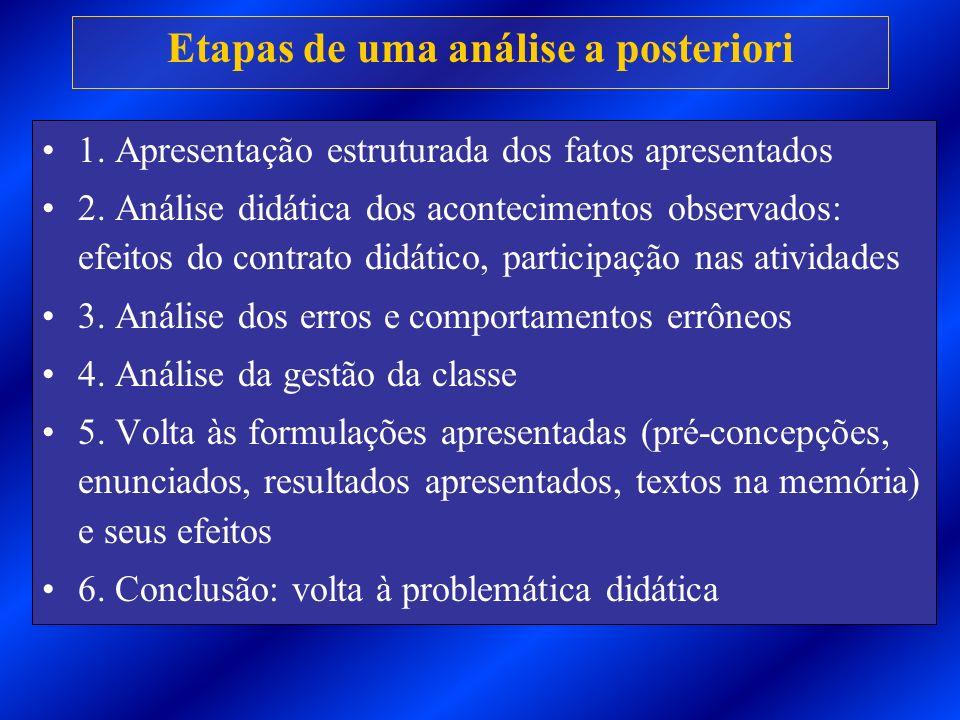 Etapas de uma análise a posteriori 1. Apresentação estruturada dos fatos apresentados 2. Análise didática dos acontecimentos observados: efeitos do co