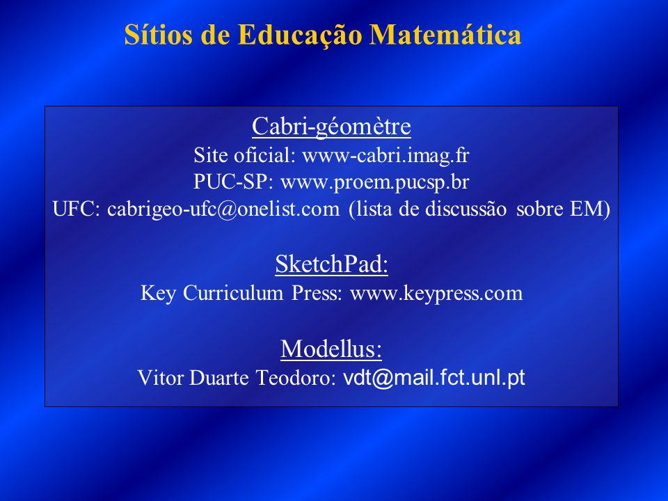 Cabri-géomètre Site oficial: www-cabri.imag.fr PUC-SP: www.proem.pucsp.br UFC: cabrigeo-ufc@onelist.com (lista de discussão sobre EM) SketchPad: Key C