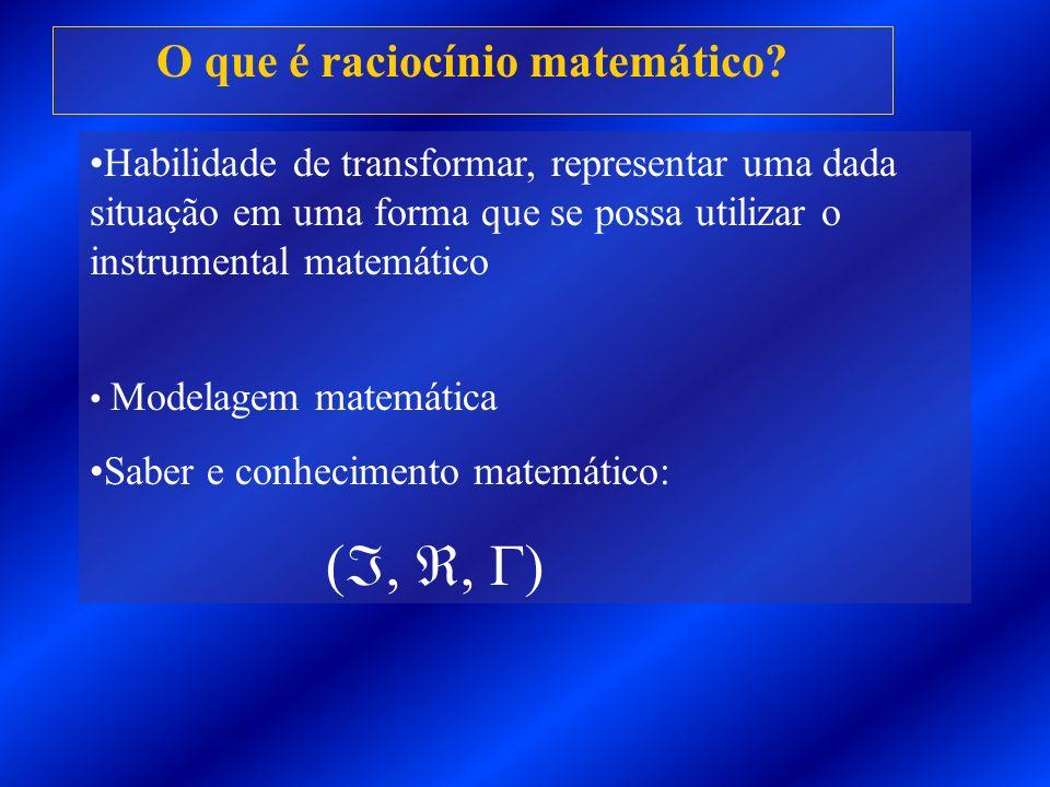 O que é raciocínio matemático? Habilidade de transformar, representar uma dada situação em uma forma que se possa utilizar o instrumental matemático M