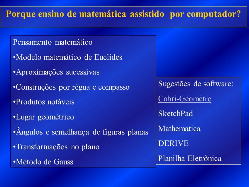 Porque ensino de matemática assistido por computador? Pensamento matemático Modelo matemático de Euclides Aproximações sucessivas Construções por régu