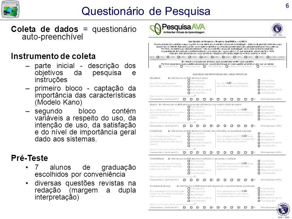 17 Conclusão Quais são as dimensões e as características de qualidade dos AVAs? qinfo qsist fti fic