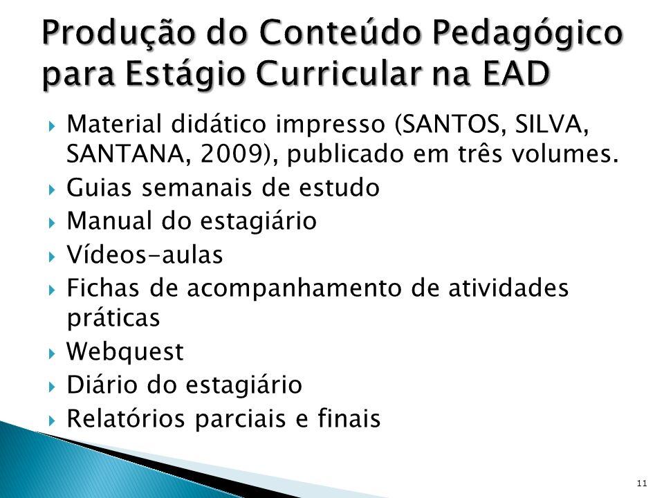 Material didático impresso (SANTOS, SILVA, SANTANA, 2009), publicado em três volumes. Guias semanais de estudo Manual do estagiário Vídeos-aulas Ficha