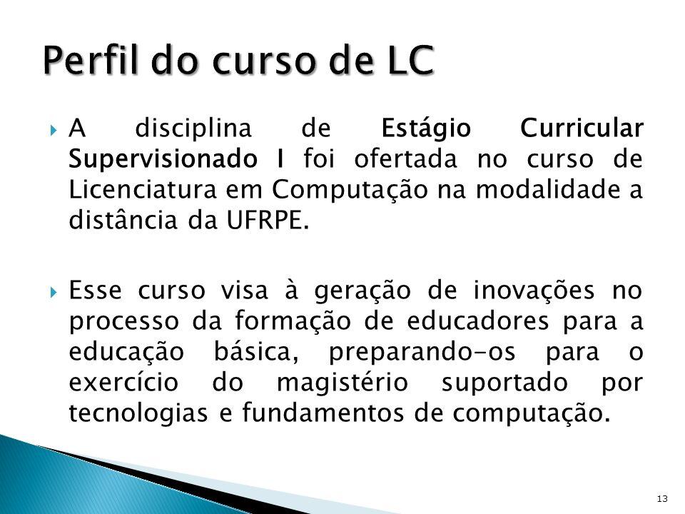 A disciplina de Estágio Curricular Supervisionado I foi ofertada no curso de Licenciatura em Computação na modalidade a distância da UFRPE. Esse curso