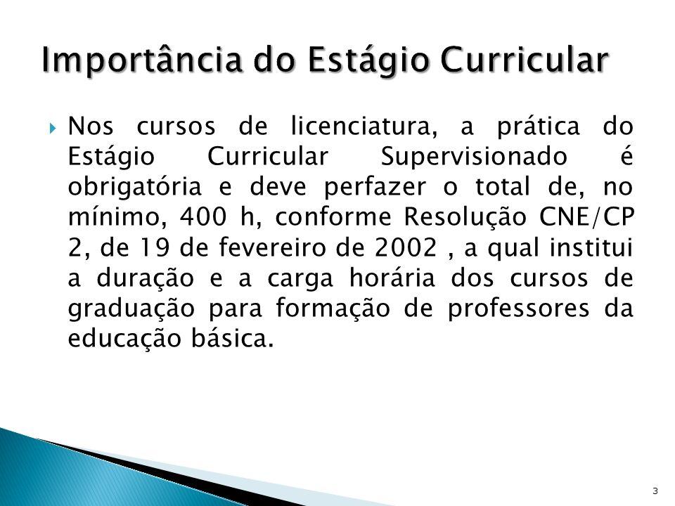 Nos cursos de licenciatura, a prática do Estágio Curricular Supervisionado é obrigatória e deve perfazer o total de, no mínimo, 400 h, conforme Resolu