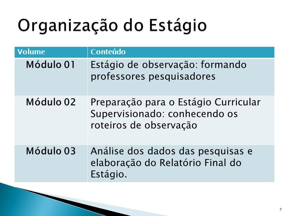 Delineamento do Estágio Supervisionado I: orientações gerais A importância do estágio na formação profissional O professor-pesquisador: formando educadores 8