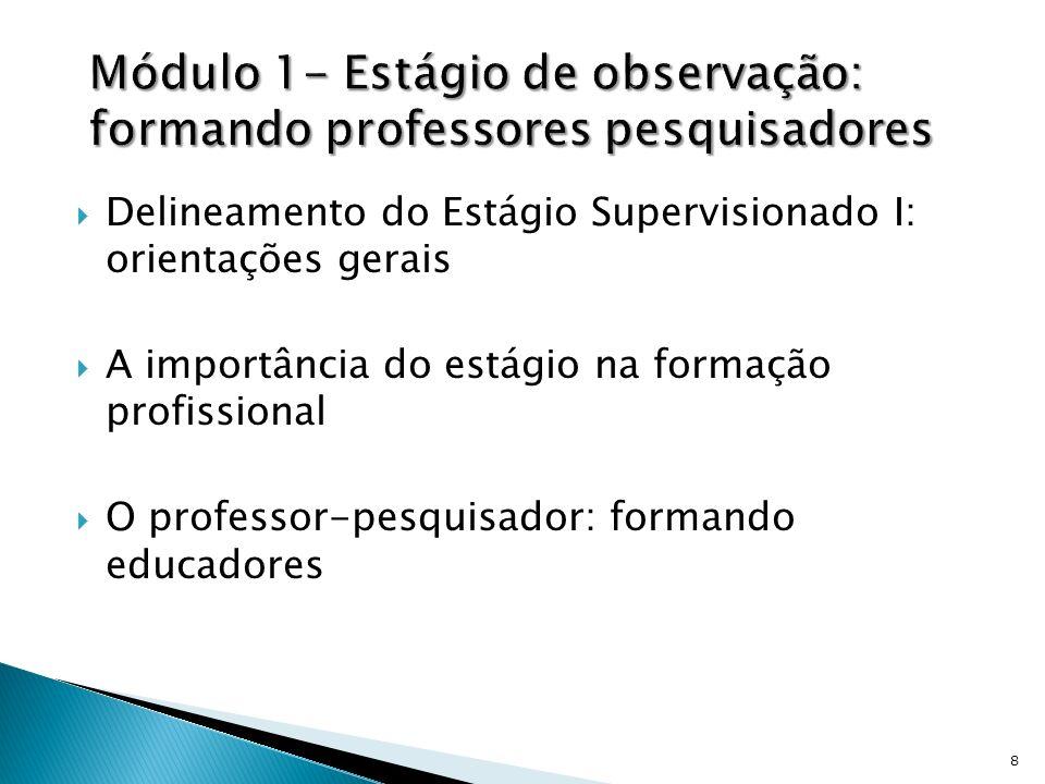 Delineamento do Estágio Supervisionado I: orientações gerais A importância do estágio na formação profissional O professor-pesquisador: formando educa