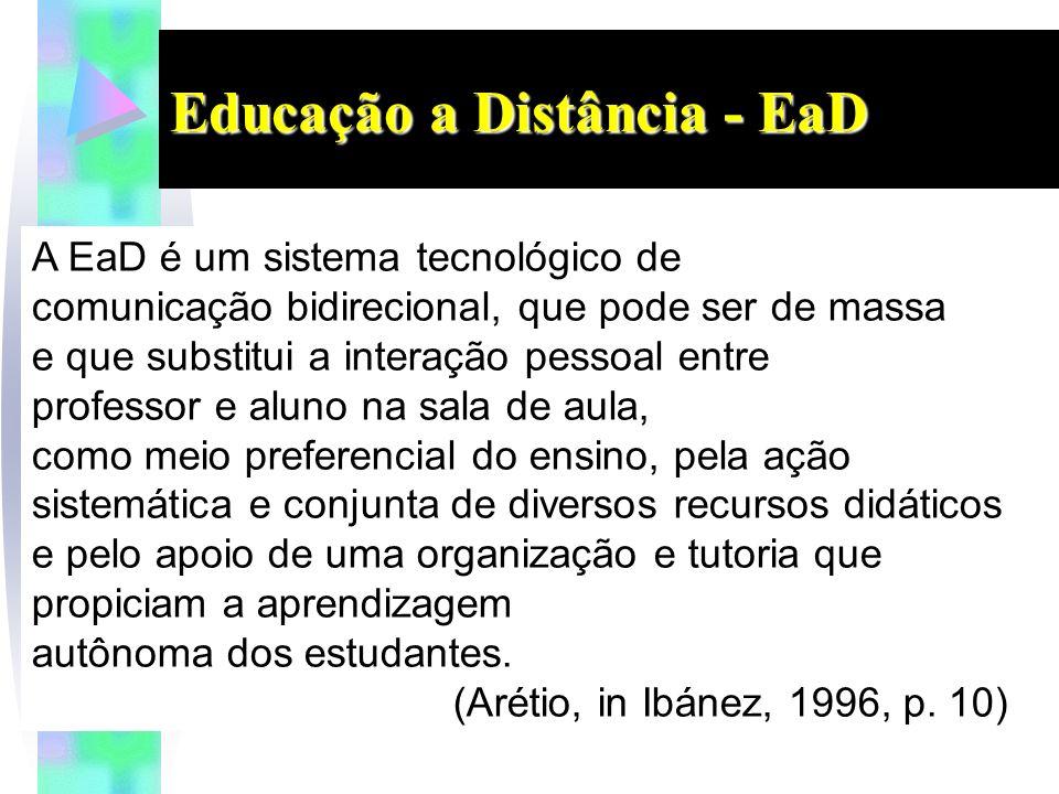 Educação a Distância - EaD A EaD é um sistema tecnológico de comunicação bidirecional, que pode ser de massa e que substitui a interação pessoal entre professor e aluno na sala de aula, como meio preferencial do ensino, pela ação sistemática e conjunta de diversos recursos didáticos e pelo apoio de uma organização e tutoria que propiciam a aprendizagem autônoma dos estudantes.