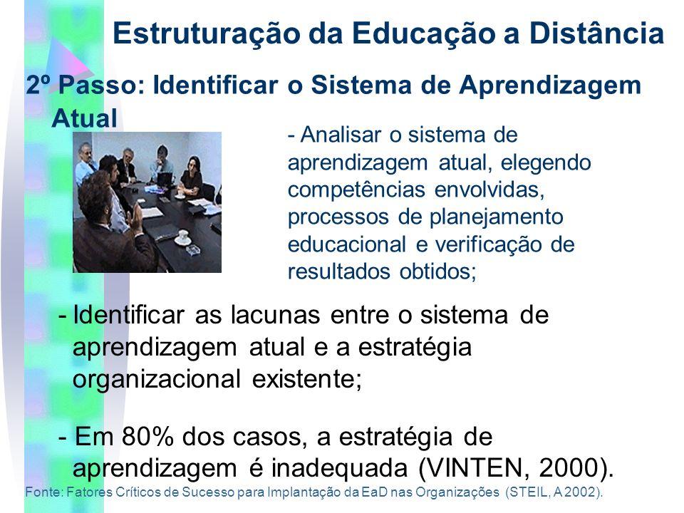 2º Passo: Identificar o Sistema de Aprendizagem Atual Estruturação da Educação a Distância -Identificar as lacunas entre o sistema de aprendizagem atual e a estratégia organizacional existente; - Em 80% dos casos, a estratégia de aprendizagem é inadequada (VINTEN, 2000).