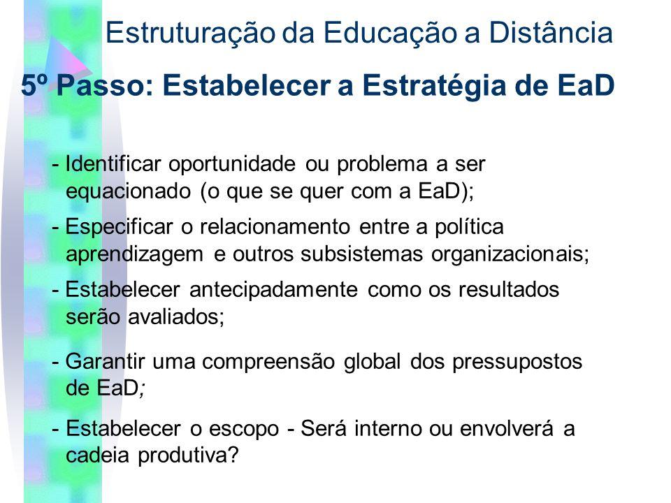 5º Passo: Estabelecer a Estratégia de EaD Estruturação da Educação a Distância - Identificar oportunidade ou problema a ser equacionado (o que se quer com a EaD); - Especificar o relacionamento entre a política aprendizagem e outros subsistemas organizacionais; - Estabelecer antecipadamente como os resultados serão avaliados; - Garantir uma compreensão global dos pressupostos de EaD; -Estabelecer o escopo - Será interno ou envolverá a cadeia produtiva?