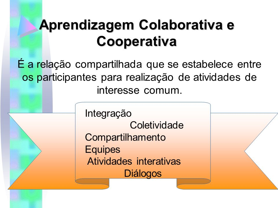 Aprendizagem Colaborativa e Cooperativa É a relação compartilhada que se estabelece entre os participantes para realização de atividades de interesse comum.