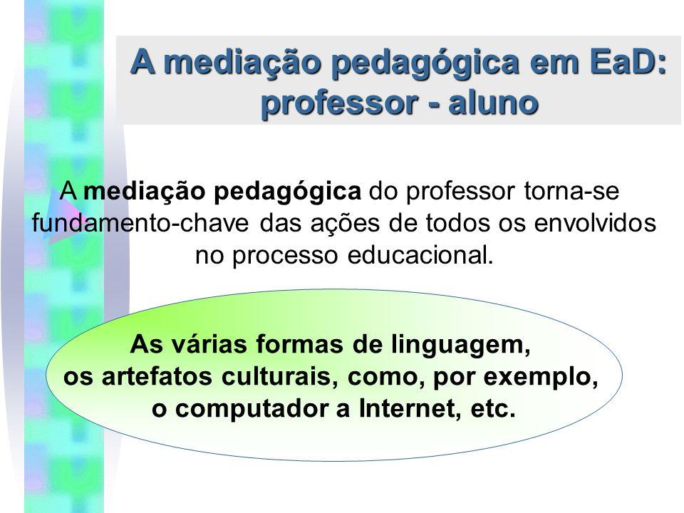 A mediação pedagógica em EaD: professor - aluno A mediação pedagógica do professor torna-se fundamento-chave das ações de todos os envolvidos no processo educacional.