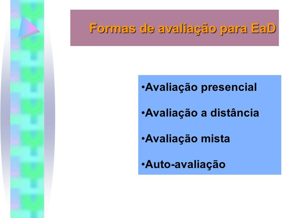 Formas de avaliação para EaD Avaliação presencial Avaliação a distância Avaliação mista Auto-avaliação