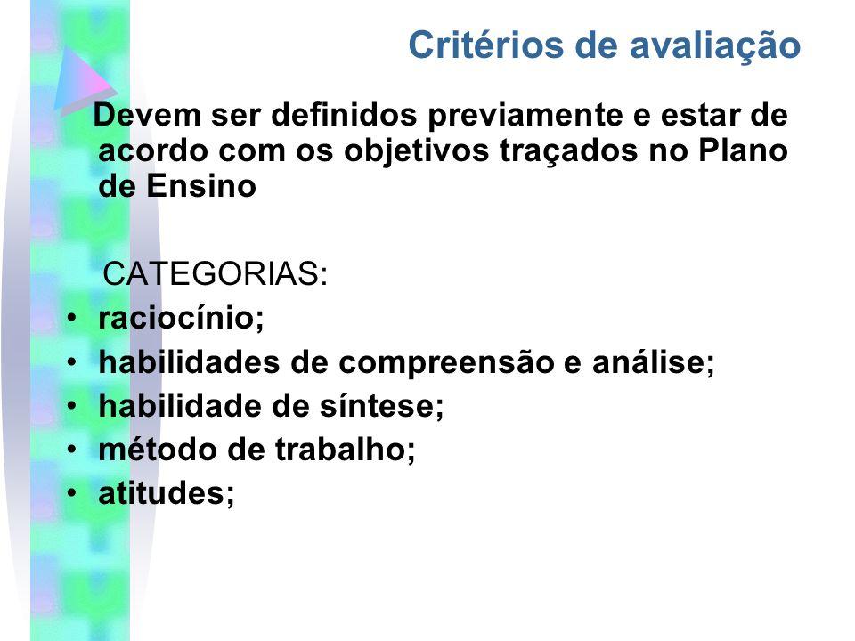 Devem ser definidos previamente e estar de acordo com os objetivos traçados no Plano de Ensino CATEGORIAS: raciocínio; habilidades de compreensão e análise; habilidade de síntese; método de trabalho; atitudes; Critérios de avaliação (BORBA,1999)