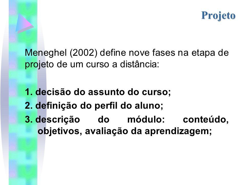 Projeto Meneghel (2002) define nove fases na etapa de projeto de um curso a distância: 1.