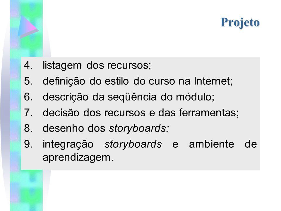 Projeto 4.listagem dos recursos; 5.definição do estilo do curso na Internet; 6.descrição da seqüência do módulo; 7.decisão dos recursos e das ferramentas; 8.desenho dos storyboards; 9.integração storyboards e ambiente de aprendizagem.