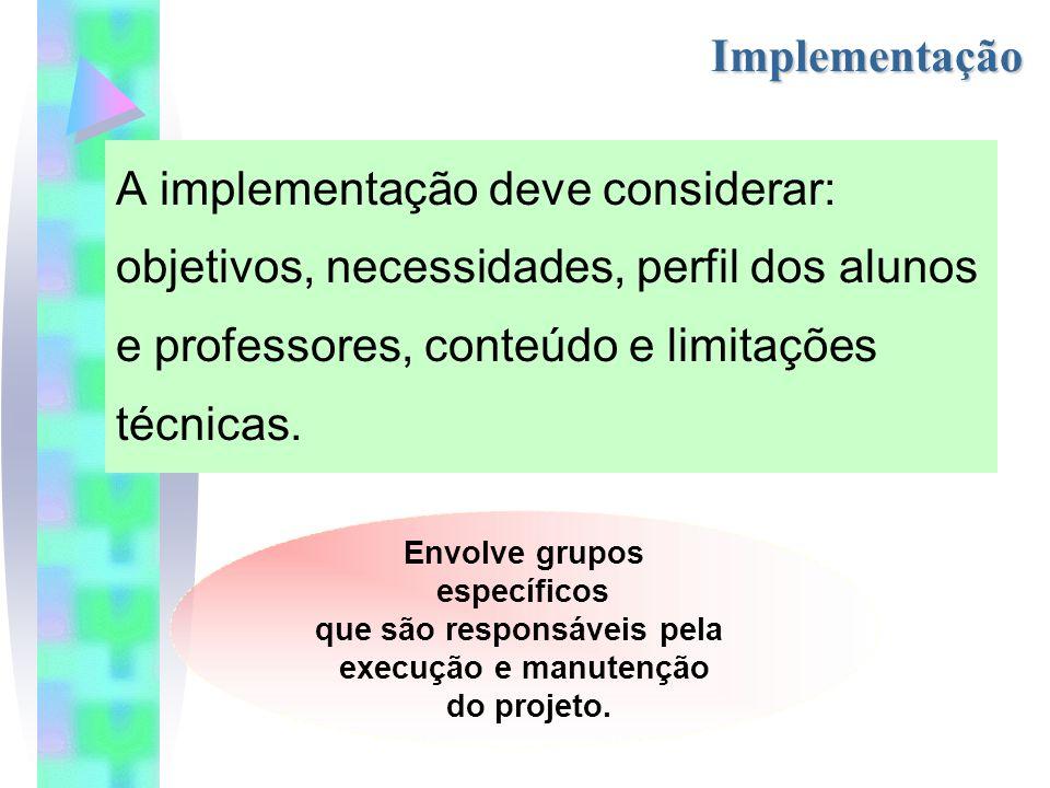 Implementação A implementação deve considerar: objetivos, necessidades, perfil dos alunos e professores, conteúdo e limitações técnicas.