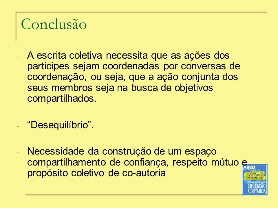 Conclusão - A escrita coletiva necessita que as ações dos participes sejam coordenadas por conversas de coordenação, ou seja, que a ação conjunta dos