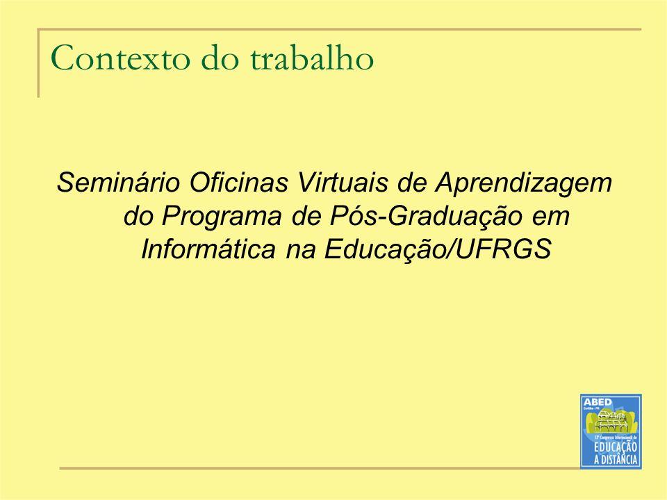 Contexto do trabalho Seminário Oficinas Virtuais de Aprendizagem do Programa de Pós-Graduação em Informática na Educação/UFRGS
