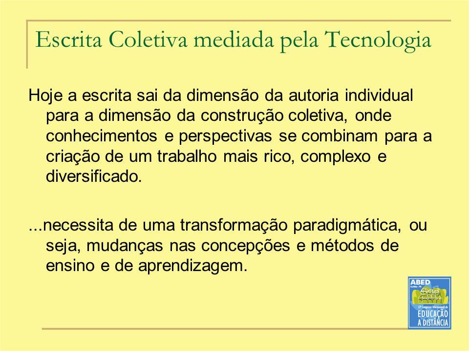 Escrita Coletiva mediada pela Tecnologia Hoje a escrita sai da dimensão da autoria individual para a dimensão da construção coletiva, onde conheciment