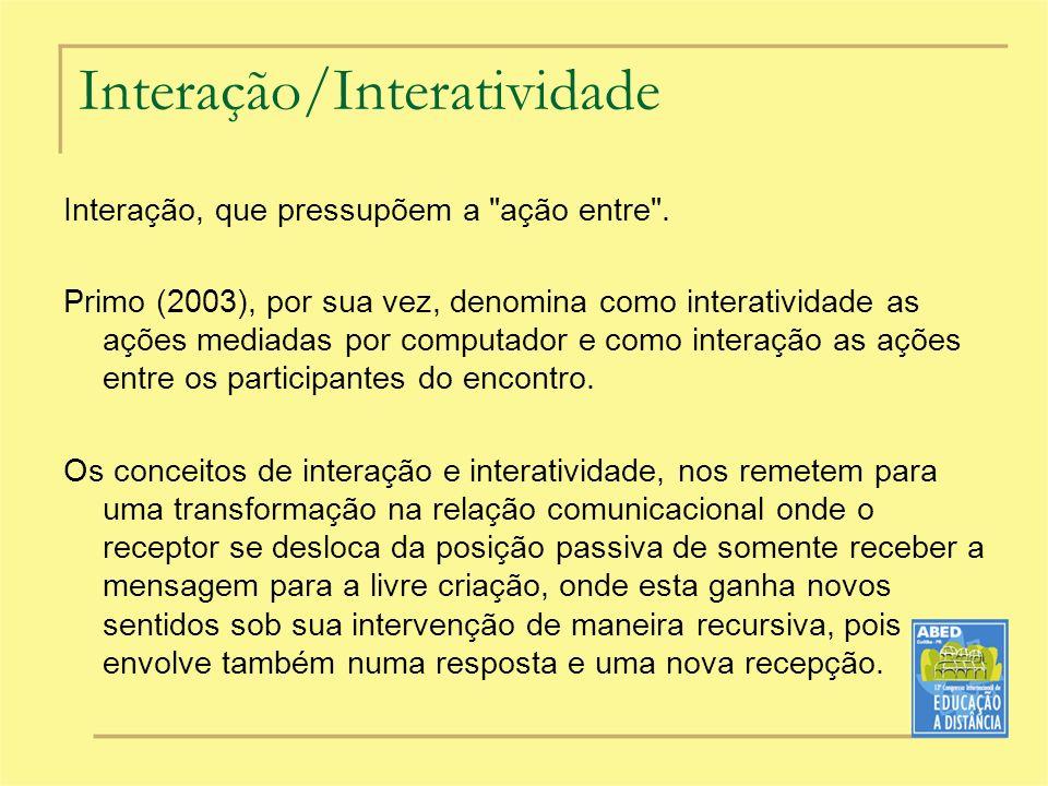 Interação/Interatividade Interação, que pressupõem a