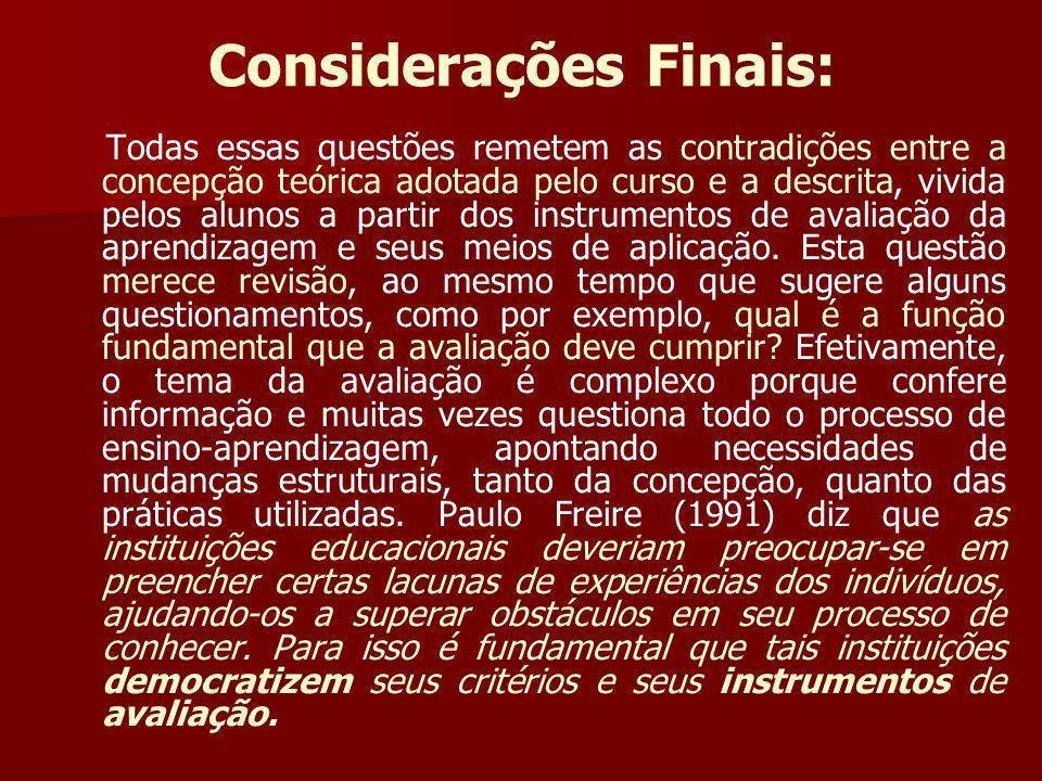 Considerações Finais: Todas essas questões remetem as contradições entre a concepção teórica adotada pelo curso e a descrita, vivida pelos alunos a pa